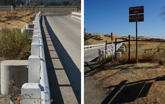 파크필드 마을 진입로에 있는 다리는 북미판과 태평양판의 움직임으로 인해 다리가 휜 상태다. 매년 휜 정도를 파악해 다리를 보수한다(왼쪽). 이 다리 사이로 지나다는 판의 경계(샌 안드레아스 단층)가 있다는 표지판도 있다(오른쪽). - 캘리포니아 파크필드=오가희 기자 solea@donga.com 제공